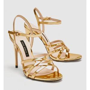 NWT Zara Gold Strappy Sandal